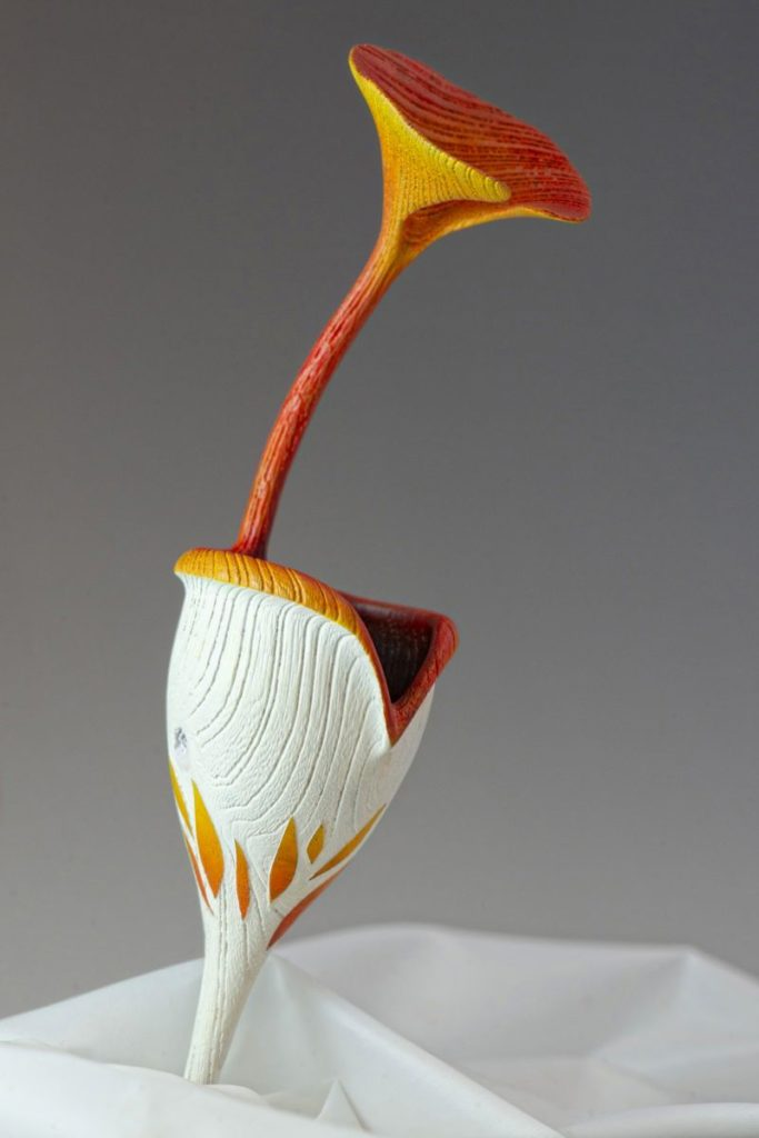 Woodturning art craft flower nepenthe in hackberry wood called Attraction made in france by Coralie Saramago
